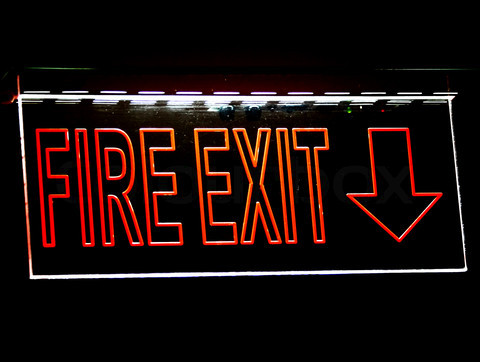 Fire Exit Sign For Emergency Evacuation